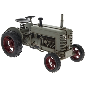 Grey Metal Vintage Tractor Ornament