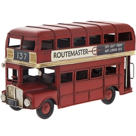 Medium Vintage London Bus in Ornament 25cm