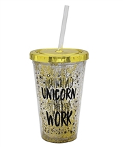 Gold Unicorn Cup With Straw 16cm
