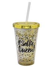 Gold Selfie Queen Cup With Straw 16cm