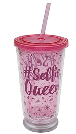 LED Selfie Queen Cup With Straw 16cm