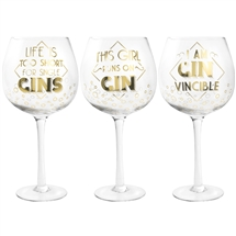 Stemmed Gin Glass With Gold Text 3 Assorted