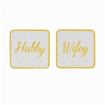 Gold Spotted Hubby And Wifey Coaster Set 11cm