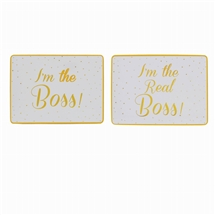 REDUCED Gold Spotted Boss And Real Boss Placemats Set 29cm