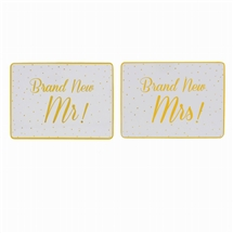 REDUCED Gold Spotted Brand New Mr And Mrs Placemat Set 29cm