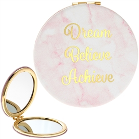 Marble Pink Compact Mirror 8cm