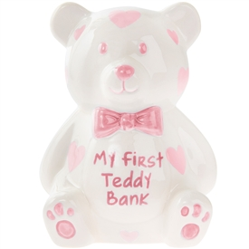 Large Pink My First Teddy Bank