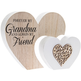 Sentiments Double Heart Grandma Mantle Plaque