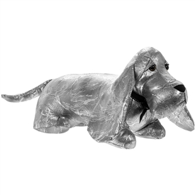 Laying Silver Dachshund Doorstop