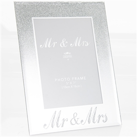 Silver Mr And Mrs Glittered Mirror Photo Frame 5cm x 7cm