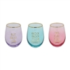 Gold Addition Coloured Stemless Gin Glasses- 3 Assorted Colours And Designs