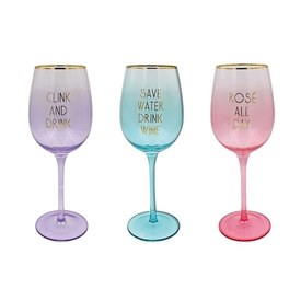Coloured Wine Glass With Gold Rim 3 Assorted