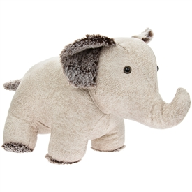 Cream Faux Leather Sitting Elephant Doorstop