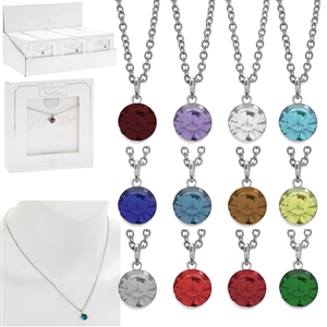 Metal Birthstone Necklace 12 assorted