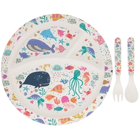 Bamboo Eco Eating Set Sealife Design