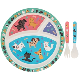 Bamboo Eco Eating Set Cats & Dogs Design
