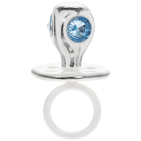 Silver Plated Dummy With Blue Diamante Gems