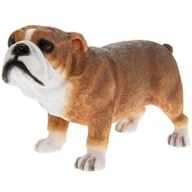 Standing Tan And White Bull Dog Ornament