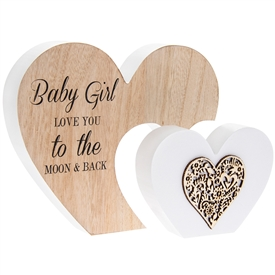 Sentiments Double Heart Plaque Baby Girl