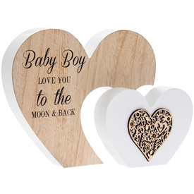 Sentiments Double Heart Plaque Baby Boy