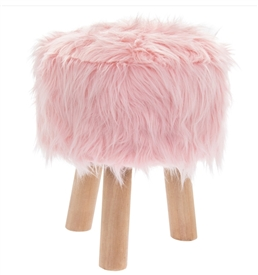 Pink Furry Round Stool