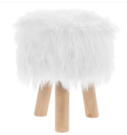 White Furry Round Stool