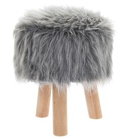 Grey Furry Round Stool