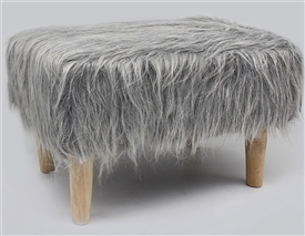 Grey Furry Rectangular Stool