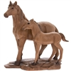 Wooden Standing Mare And Her Foal Ornament