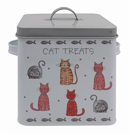 Faithful Friends Cat Design Metal Treat Box With Lid