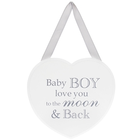 Heart Plaque Baby Boy 18cm