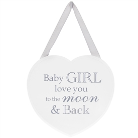 Heart Plaque Baby Girl 18cm