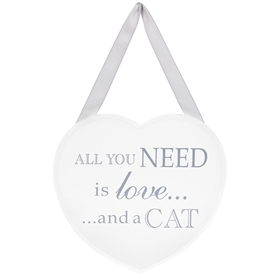 Heart Plaque Love And Cat 18cm