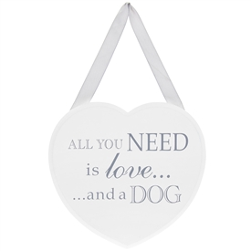 Heart Plaque Love And Dog 18cm