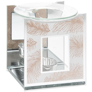 Rose Gold Glass Oil Burner with Feather Design