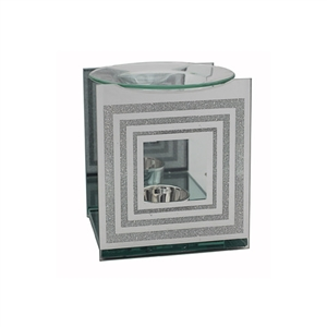 Silver Oil Burner with Glitter Design