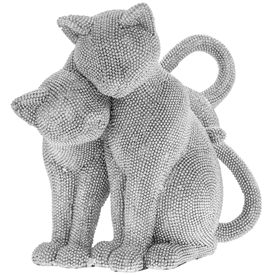 Double Diamante Cats Figurine