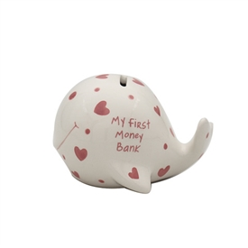 Pink And White My First Whale Money Bank