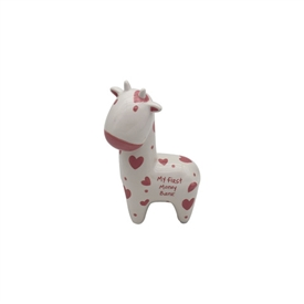 Pink And White My First Giraffe Money Bank