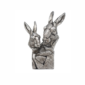 Natural World Distressed Silver Detailed Double Hare Bust Ornament
