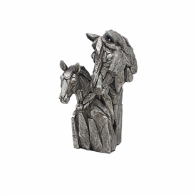 Natural World Distressed Silver Detailed Double Horse Bust Ornament