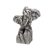 Natural World Distressed Silver Detailed Double Elephant Bust Ornament