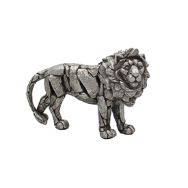 Natural World Distressed Silver Detailed Lion Ornament