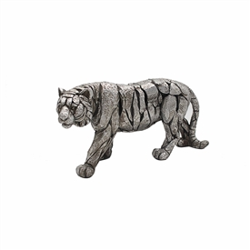 Natural World Distressed Silver Detailed Tiger Ornament