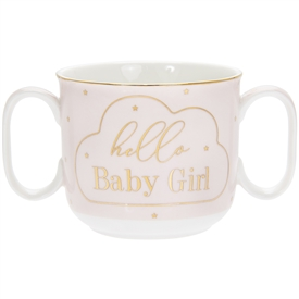 White and Pink Ceramic Double Handle Mug New Born Gift