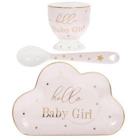 White and Pink Ceramic New Born Gift Set with a Egg Cup, Plate and a Spoon