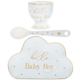 White and Blue Ceramic New Born Gift set with a Egg Cup, Plate and a Spoon