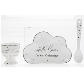 White Ceramic Christening Gift Set with a Egg Cup, Plate and a Spoon