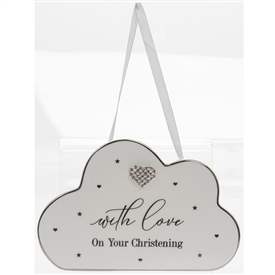 White Ceramic Hanging Heart Plaque Christening Gift
