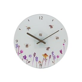 White Clock with Busy Bees Design